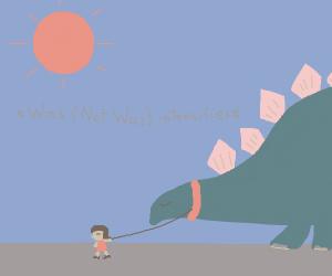 Girl takes her Stegosaurus for a walk