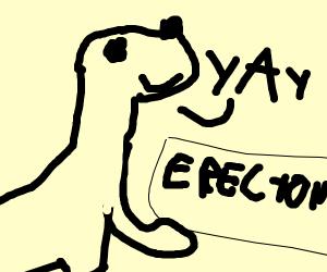 dinosaur with erecton