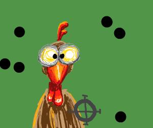 badly aiming gun at chicken