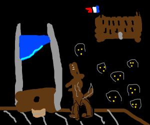 guillotine killing a dog