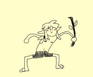 Video game protagonist wielding a stick