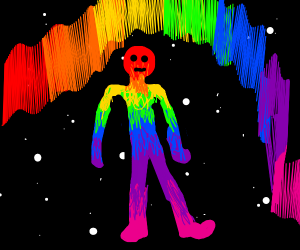 Rainbow man in space