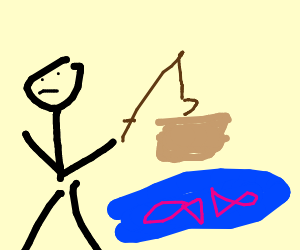Man fishing and finding a box