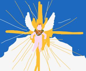 Blonde Angel descending from Heaven