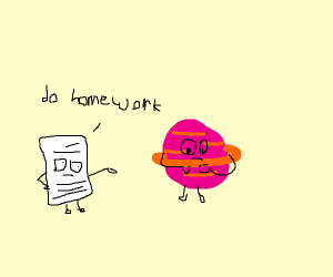 Paper saying do your home work to a plant