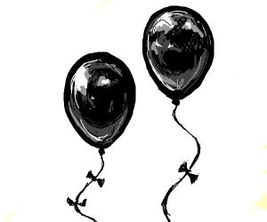 Two black balloons.