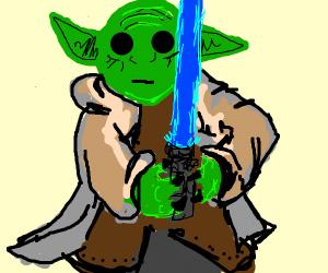 Yoda with a Blue Lightsaber