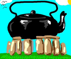A giant kettle atop Stonehenge