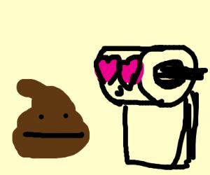 toilet paper in love with poop