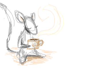 Mouse drinking Coffe.