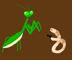 mantis trying to eat worm but worm has gun