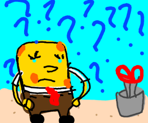 SpongeBob confused by scissors in a cup