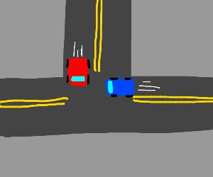 Car crash a few seconds before