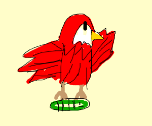 A red bird carrying a worm?