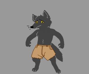 Werewolf sad about torn pants