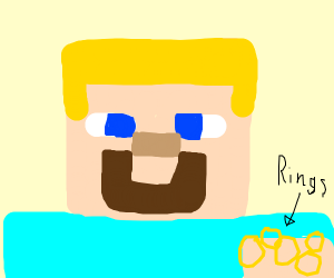 Minecraft Steve with blonde hair and rings