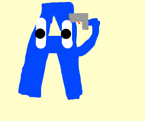 Blue letter A wants to get shot.