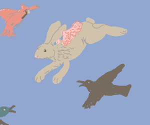 a rabbit flying with fellow berds. (majestic)