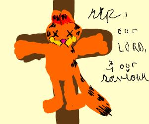 Garfield hangs on the cross