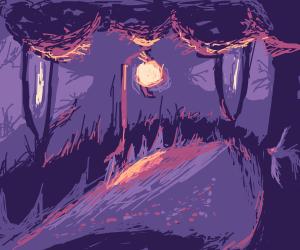 Midnight Forest with Lantern