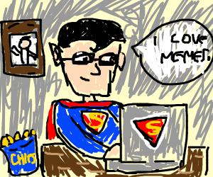 Superman looking at memes