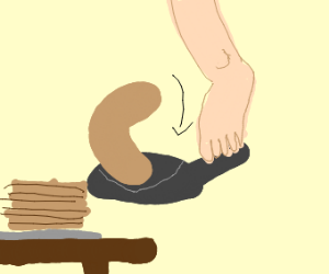 Flipping a pancake with your  foot