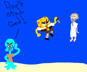 Squidward tells spongebob not to stab the god