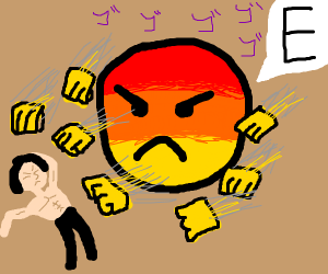 guy attacked by an angry emoji saying E
