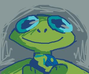 Kermit holding earth