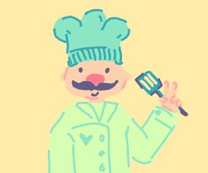 A colorful chef raises 2 fingers