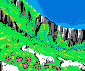 mountain with grass and flowers
