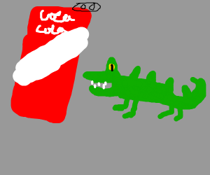 a tiny crocodile with a cocacola