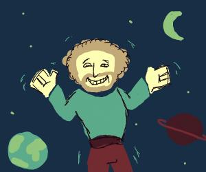 bob ross dances in space
