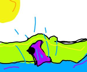 A purple car stuck in water