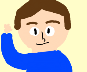 Man with big head and tiny hands