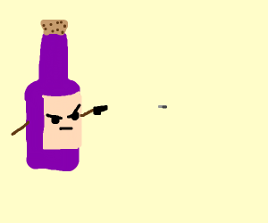 Wine bottle shoots bullet