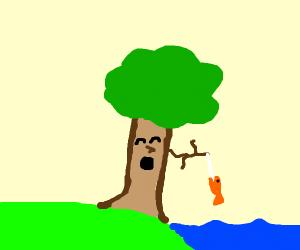 tree fishing for goldfish