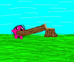 kirby inhales a tree