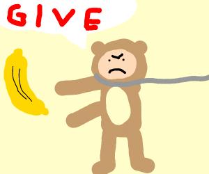 Man in monkey suit wants banana