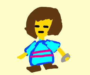 Frisk and a stone