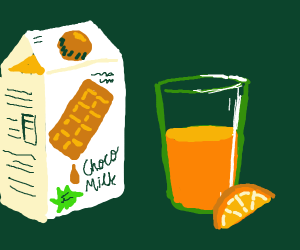 Chocolate milk carton and orange juice in cup