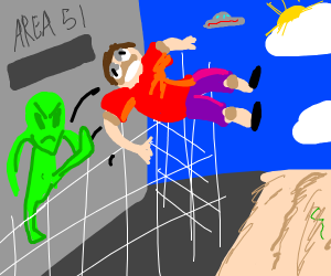 Alien kicking civilian out of area 51