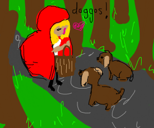 little red riding hood excited about dogs