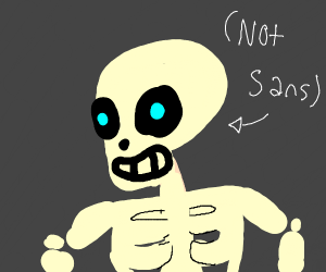 A skeleton with a blue eye, but it's not Sans