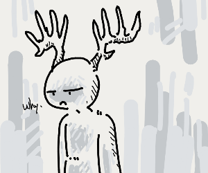 depressed man with antlers