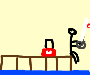 Person fishing on a pier