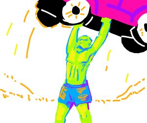 naked guy lifting a car