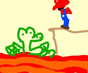 Yoshi burning in lava