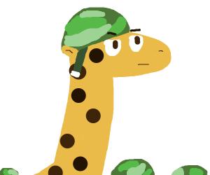 A giraffe in the army