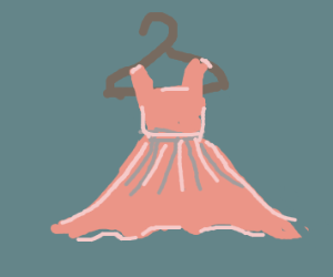 pink dress hanging on hanger